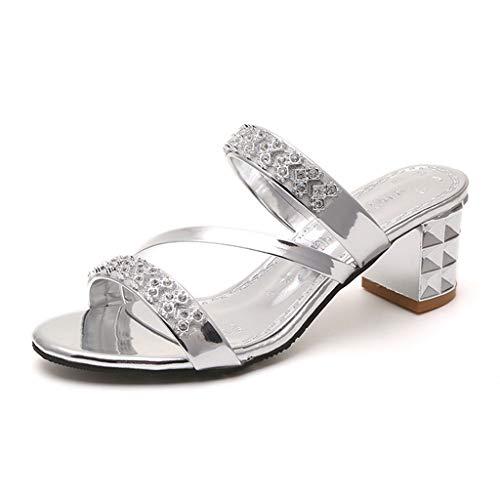 Leather Square Toe Mokassins (Pantoletten Damen,Sommer Zehentrenner Crystal Square Heel Sandalen römische Schuhe Hausschuhe Badeschuhe (Silber,EU 38))