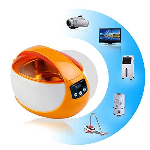 FENGCLOCK Digital Ultraschall Schmuck Reinigungsgerät, Kleiner Haushalt Multifunktionsreiniger Edelstahl Ultraschallbad Waschmaschine, Reinigungswerkzeuge,Orange