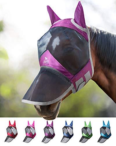 Harrison Howard CareMaster Pro Luminous Fliegenmaske UV-Schutz Ohren und Nasenschutz Lavendel Lila Vollblut (M)