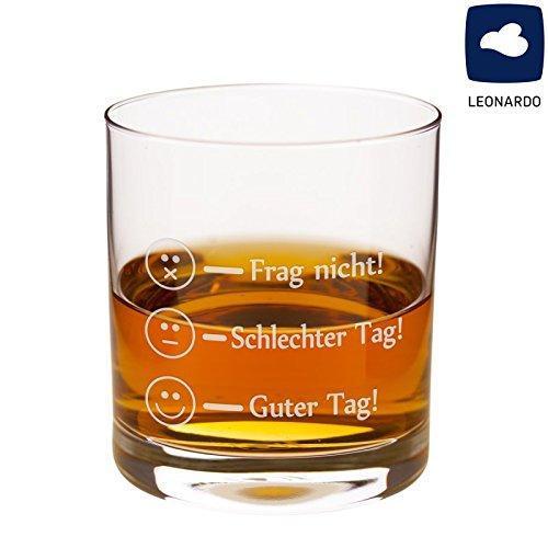 Geschenke 24: Whiskyglas - Smiley - edles Whiskygeschenk von Leonardo - originelles Glas für Whiskykenner - Tumbler für Whiskey-Liebhaber