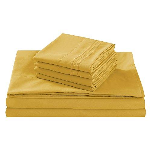 Bettwäsche-Set, 100% gebürstete Mikrofaser, mit Luxus-Kollektion, tief, antiallergen, atmungsaktiv, knitterfrei, 6-teiliges Set, Fifth Avenue, 100% Polyester, gold, King Size -