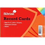 Silvine Record Cards Ruled 152x101mm Pack of 100 Assorted Colours