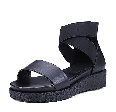 balamasa Mesdames couleurs assorties open-toe Vache en cuir Sandales - Noir - noir, 35.5