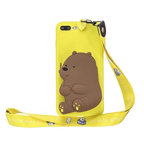 Miagon Silikon Hülle für iPhone 8 Plus / 7 Plus,3D Süß Brieftasche Lager Tasche Design mit Halskette Kordel Schnur Handykette Necklace Band,Gelb Bär