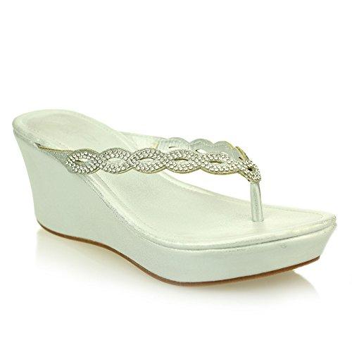 Signore delle donne comodità casuali dello slip-on diamante zeppa di formato dei pattini sandalo (Nero, Champagne, Argento) Argento