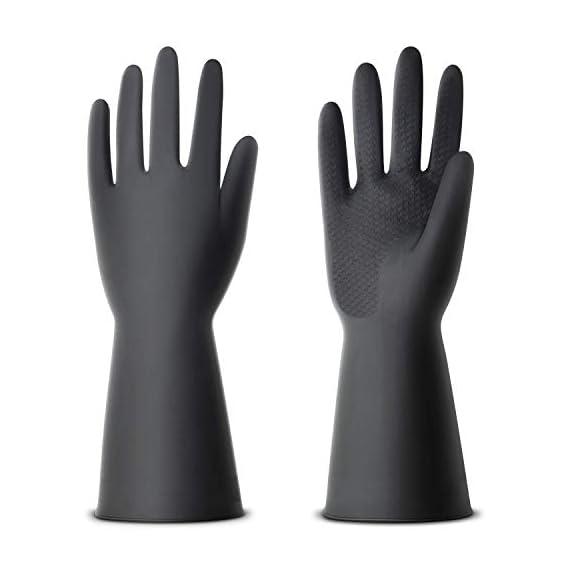 NexStar Multipurpose Non-Slip Rubber Reusable Gardening Dishwashing Scrubbing Cleaning Gloves (Color Black, Size: 9.5 Inch)