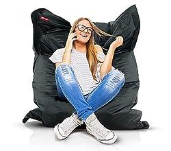 Roomox Original Sitzsack-120x160cm-für drinnen & draußen XXL Sitzsack, Stoff, Schwarz, 160x120x30 cm