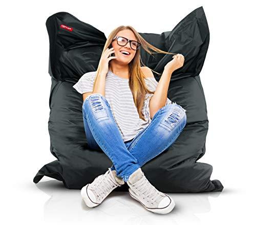 Roomox Original Sitzsack-120x160cm-für drinnen & draußen XXL Sitzsack, Stoff, Schwarz, 160x120x30...