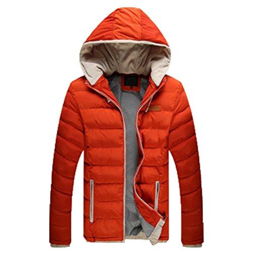 OHmais homme parka manteau d'hiver veste à capuche fourré Orange
