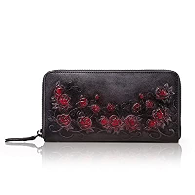 APHISONUK Designer Women's Leather Zipper Wallets Header Layer Cowhide Embossed Card Clutch Holder Purse for Women/Gift Box