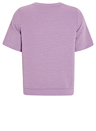 oodji Collection Femme Sweat-shirt Reliéfé Manche Courte Violet (8000N)