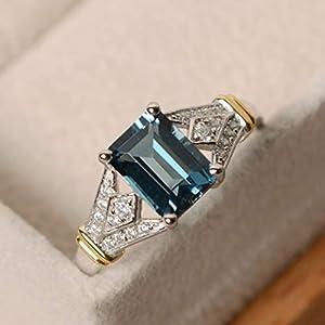 dfgjdryt Große Elegante Frauen Silber Hochzeitsringe Emerald Cut Birthstone Ring