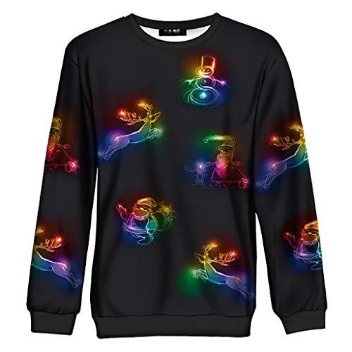 GreatestPAK Weihnachten Rundhals Pullover Paar Damen Herren T-Shirt (Paar Weihnachten Pullover)