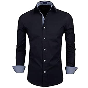 Zombom Men's Full Sleeve Cotton Casual Shirt (Black, 38)
