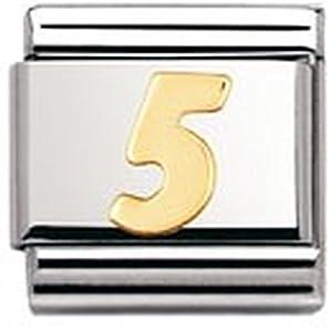 Nomination Composable Classic Zahlen Edelstahl und 18K-Gold (5) 030102