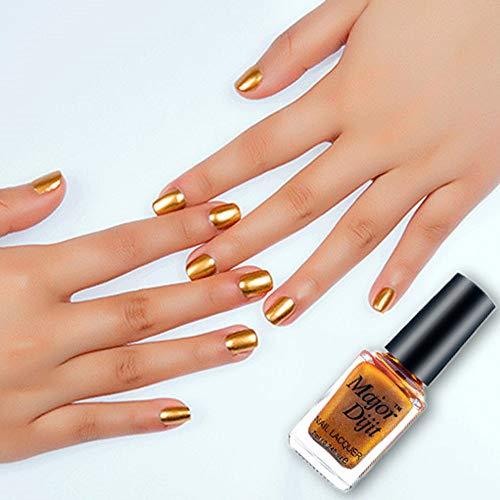 Cwemimifa Gel Nagellack,Spiegel Nagellack Überzug Paste Metall Farbe Edelstahl,Gold -
