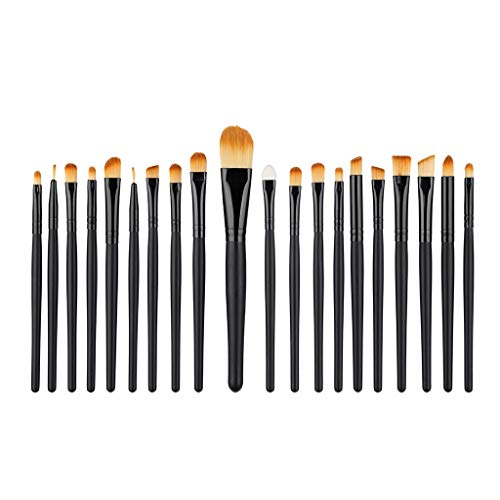 kingko® 20 Pcs Beauty Kit de Pinceaux Maquillage, Set de Pinceau estompeur Maquillage Yeux Brosse Pinceau Fard à Paupières Sourcils Pinceau à lèvre avec Sac (Noir)