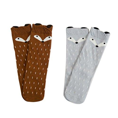 Happy Cherry Baby Unisex 2 Paar Lange Socken, Baumwolle süße Babysöckchen für Mädchen und Jungen, Babysocken Set (0-12 Monate) - Fuchs Braun Grau