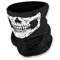 وشاح جمجمة نصف وجه بهيكل عظمي للدراجة النارية المخيف في حفلات الهالوين هدية مطبوع عليه جمجمة وشاح متعدد الأغراض/مندان/قناع للرجال والنساء