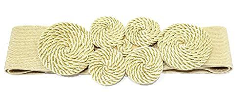 BRANDELIA Cinturón Elástico Mujer Fiesta Estilo Cordón de Seda para Combinarlo Con Vestidos o Faldas, Dorado