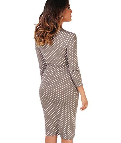 KRISP Damen Jersey Stretch Wrap Kleid Wickelkleid Mokka/Weiß (6487)