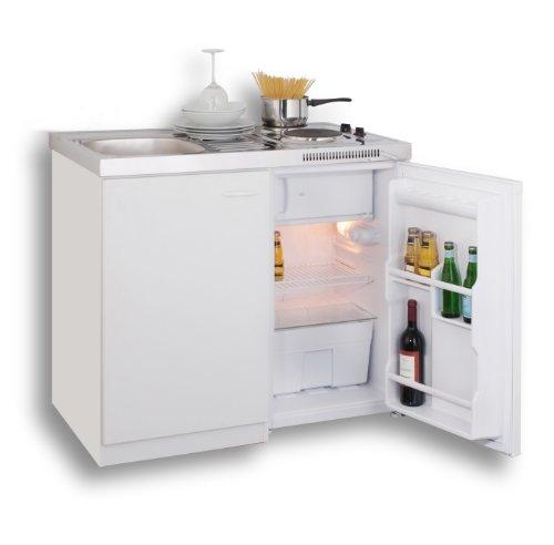 MEBASA MK0001 Pantryküche, Miniküche 100 cm Weiß mit Duokochfeld und Kühlschrank von Mebasa