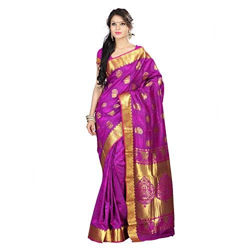 Varkala Silk Sarees Women's Art Silk Kanchipuram Saree With Blouse Piece(JB9101PV_Purple_Free Size)