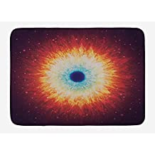 Space Bath Mat, Galaxy with Stars and Black Hole Mysterious Celestial Magic Astral Universe View