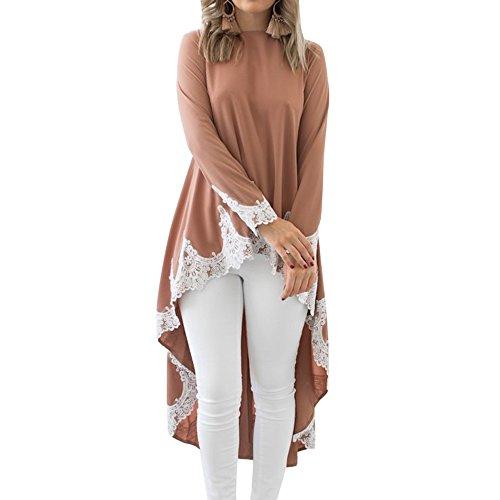 Shujin Damen Herbst Elegant Langarm Shirtkleid Casual Loose Longshirts Asymmetrische Spitzen Patchwork Vorne Kurz Hinten Lang Mini Tunikakleid, Khaki, L