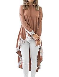 Shujin - Vestido de manga larga para mujer, estilo casual, con encaje asimétrico y patchwork, parte delantera corta, parte trasera larga, minivestido de túnica
