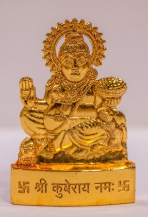 Golden Plated Lord Kuber Idol God Of Wealth Prosperity