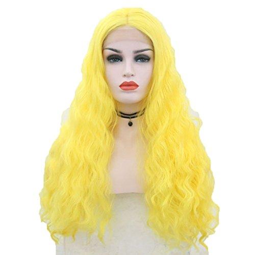 (Frauen Perücken Natürliche Welle Lang Lockig Für Frauen Cosplay Perücke Gelb)
