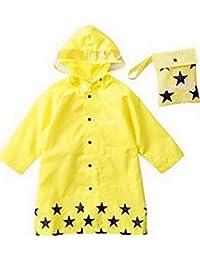 SKL Unisex Kid 's Moda impermeable Cartoon chubasquero para niño o niña, 4Tamaños, 3colores, amarillo