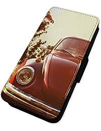 Retro Coleccionable coche Bug–Vintage Motor–Funda con tapa tipo libro para iPhone Samsung Galaxy S5