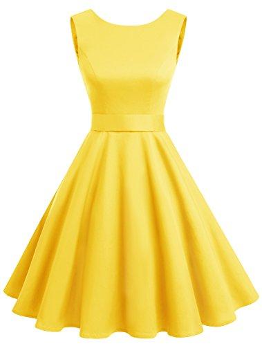 Wedtrend 50s Retro Vintage Dot Einfarbig Rockabilly Ärmellos Kleid Faltenrock WTP10005 Yellow 3XL (Hosen Bügeleisen Kleid)
