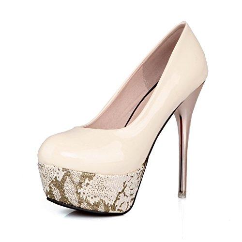 AllhqFashion Femme Rond à Talon Haut Verni Couleur Unie Tire Chaussures Légeres Beige