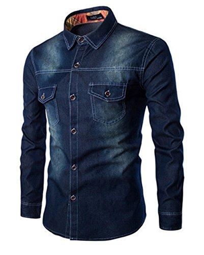 Haroty uomo camicie denim maniche lunghe taglie forti cotone moda men jeans shirts slim fit casual fashion oversize (4xl, blu scuro)