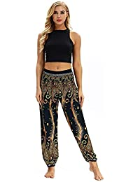 fc7c3e44e2d7 HLHN Men Women Thai Harem Trousers Wide Leg Boho Hippy Aladdin Plus Size  Yoga Pants High