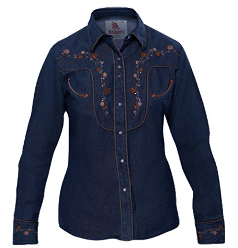Modestone Women's Embroidered Long Sleeved Fitted Western Hemd Floral Denim XL (Denim-pearl Snap)
