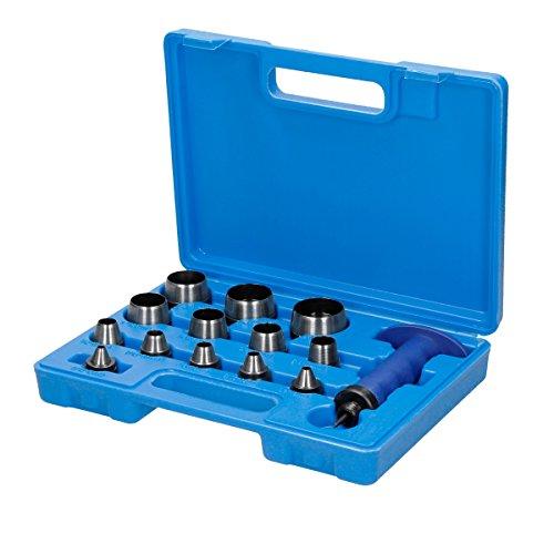 ECD Germany Locheisen Set 14-tlg - 5-35mm - aus Stahl - in Kunststoffkoffer - Henkel-Locheisen Lochstanzensatz zum Ausschlagen von Dichtungen Leder Kunststoff Schaumstoff Faser Werkzeug Set -