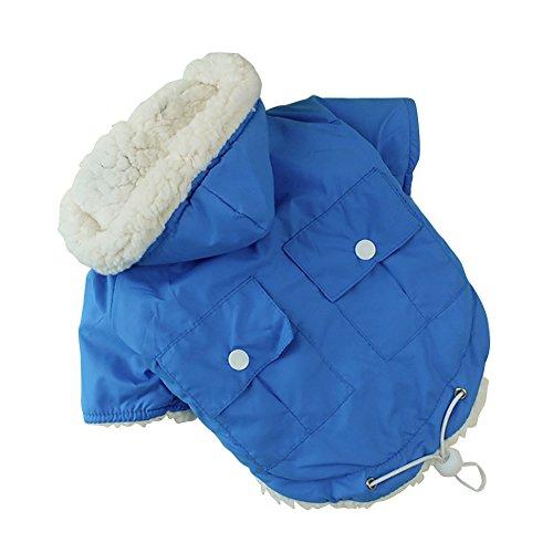 Winter Hund Kleidung weichem Fell Farbe Puppy Warm Jacke Mantel mit Kapuze Haustier Kostüm-Blau - Blau Kapuzen Mantel Kostüm