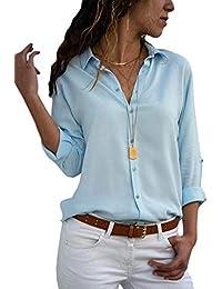 Minetom Blusa Donna con Collo V Maglietta Maniche Lunghe Casual Tinta Unita Chiffon  Sexy Ufficio Camicetta Elegante… 5fbcb4aff32