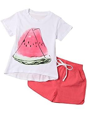 Covermason Niñas Sandía Impresión Camisa y Rojo Pantalones cortos 2PCS (1 Conjunto)
