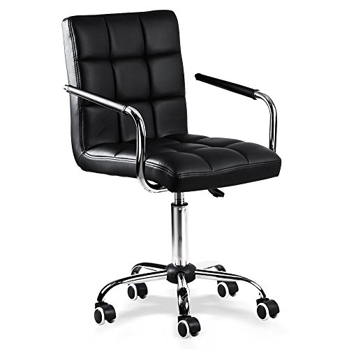 Popamazing Black Faux Leather Home Office Computer Desk Chairs Swivel Stool Chair on Wheels