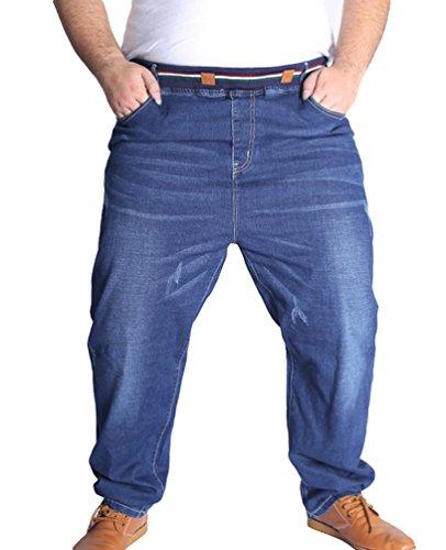 Heheja Herren Freizeit Jeanshosen Hohe Taille Denim Hose Übergröße Elastizität Jeans Blau 5XL