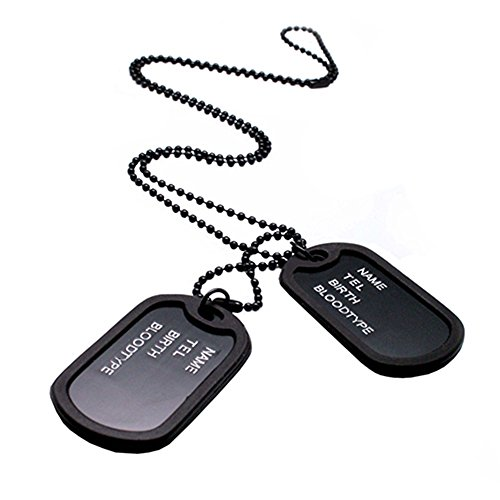 Jiacheng29Military Army Style Black 2Dog Tags Kette Herren Anhänger Halskette, Metall, Schwarz, Einheitsgröße