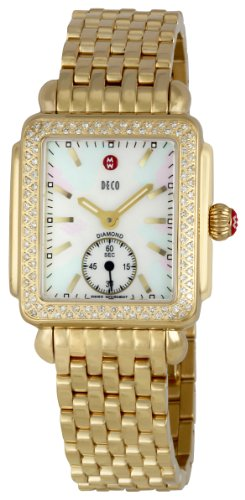Michele Women's Gold-Tone Steel Bracelet & Case S. Sapphire Swiss Quartz MOP Dial Watch MWW06V000003