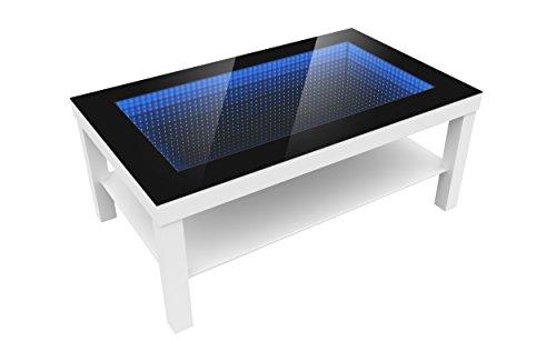 FORAM Modern Couchtisch Glastisch Beistelltisch Tiefeneffekt Tisch LED 3D (90x55, weiß)