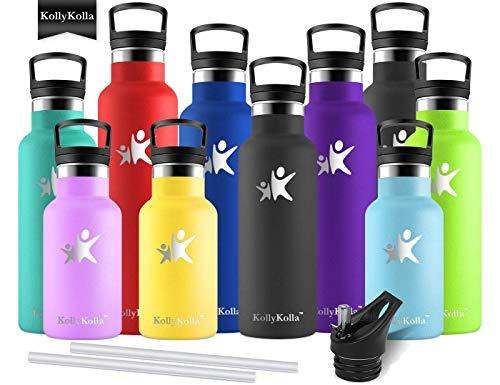 KollyKolla Vakuum-Isolierte Edelstahl Trinkflasche, 600ml BPA-frei Wasserflasche mit Filter, Thermosflasche für Kinder, Mädchen, Schule, Kindergarten, Sport, Wandern, Camping, Outdoor, Schwarz