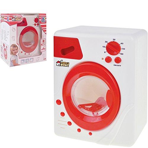 Preisvergleich Produktbild Kinder Spielzeug Waschmaschine mit Licht und originalgetreuen Geräuschen, rot und weiß - Haushalts Gerät Zubehör
